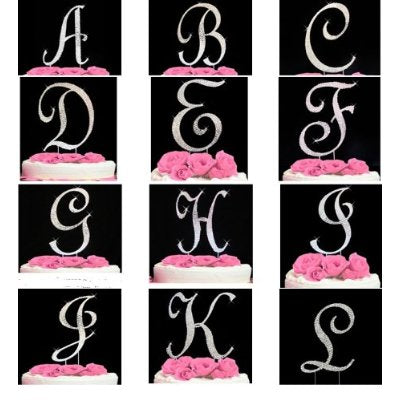 * Crystal Covered Monogram Cake Toppers Silver Letter Initial A-Z any Initial