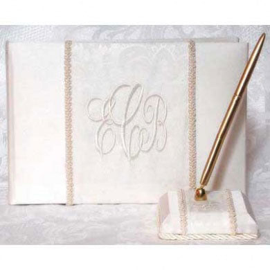 Brocade Monogram Wedding Ivory Guest Book