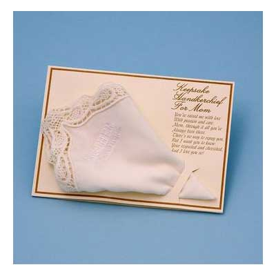 Mother of the Bride Handky Handkerchief (White or Ivory)
