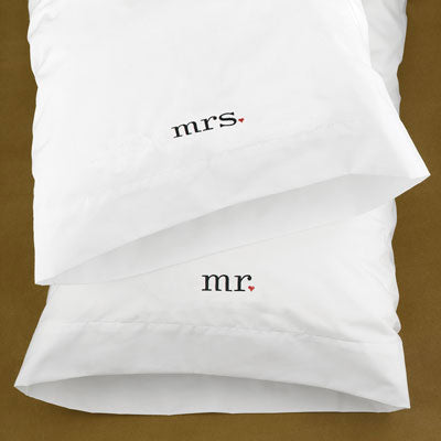 Mr And Mrs White Pillowcases Wedding Gifts
