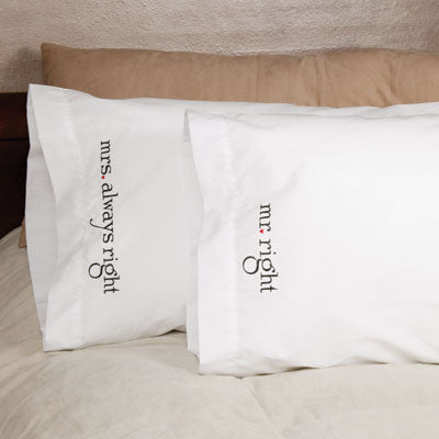 Mr and Mrs Right Pillowcases (Set of 2)