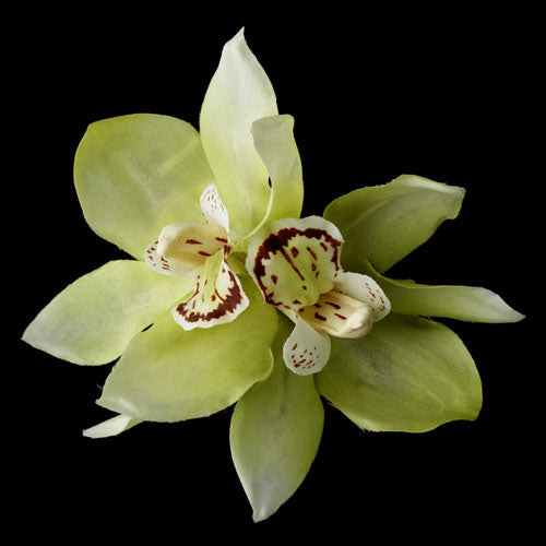 Realistic Looking Bridal Orchid Flower Hair Clip - Mint Green