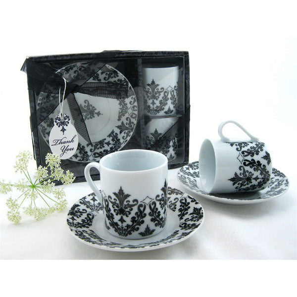 Damask Espresso Cup and Saucer Set Favors (Set of 2)
