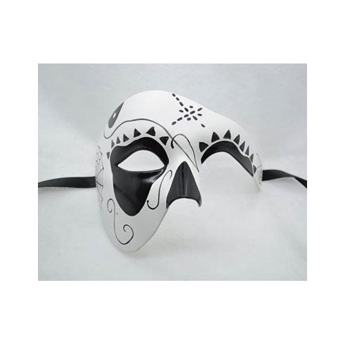 Day of the Dead Masquerade Mask Black and White