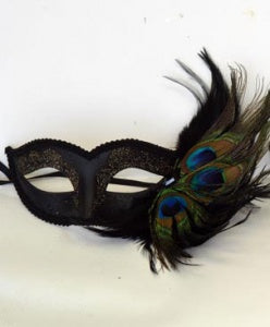 Black Masquerade Masks Half Face Venetian Mask with Peacock Feathers