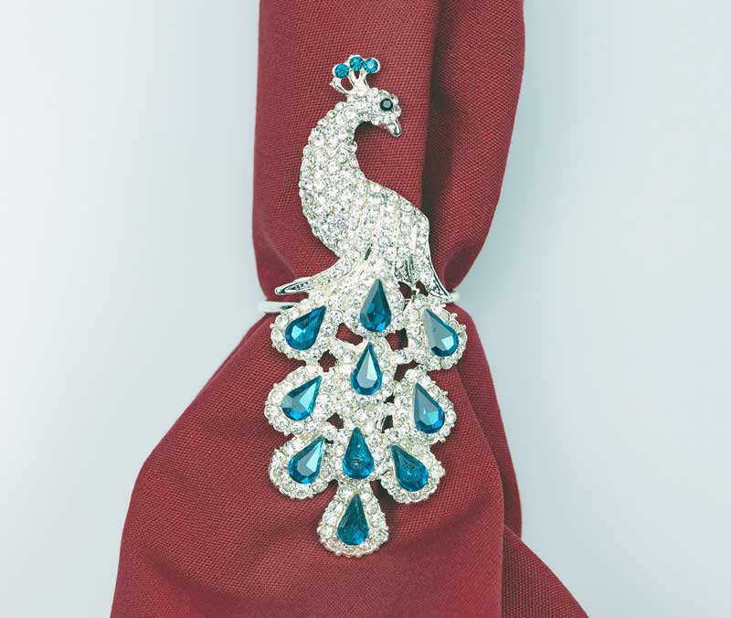 Peacock Napkin Rings Set of 4 Napkin Holders