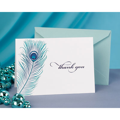 Wedding Thank You Cards Peacock Thank You Notes (Pack/50)