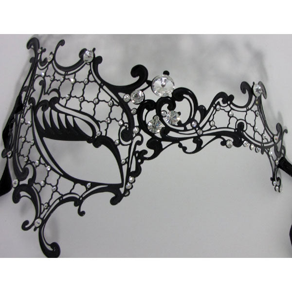 Phantom of the Opera Inspired Lady Half Face Laser Cut Metal Mask Black