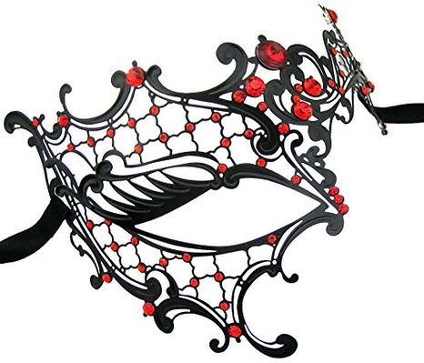 Phantom of the Opera Inspired Lady Half Face Mask Black with Red Crystals