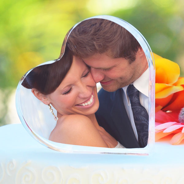 Wedding Cake Topper Heart Photo Cake Toppers Holds 2 Photos