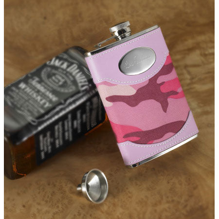 Personalized Pink Camouflage Flask with Funnel