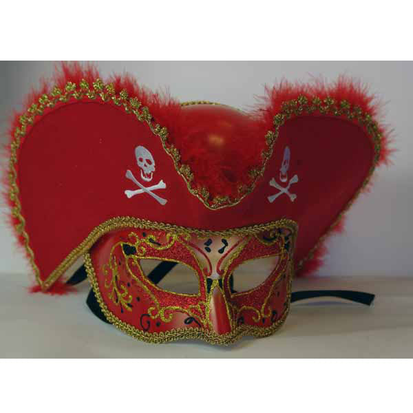 Pirate Hat Red and Gold Venetian Mask Masquerade Mask