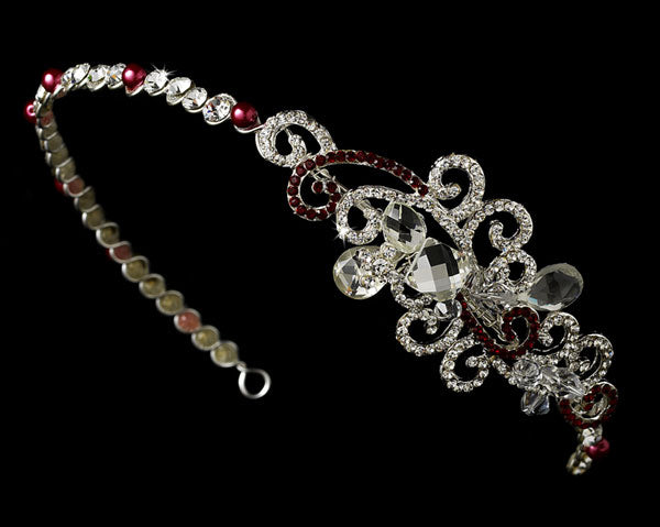 Red Bridal Tiara with Side Ornamentation