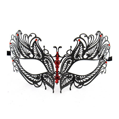 Black Butterfly Metal Laser Cut Masquerade Mask with Red Diamonds