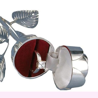 Silver Plated Rose Ring Holder As Ring Pillow