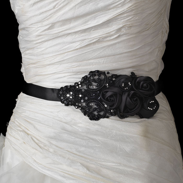 Black Floral Bead & Sequin Bridal Sash Belt