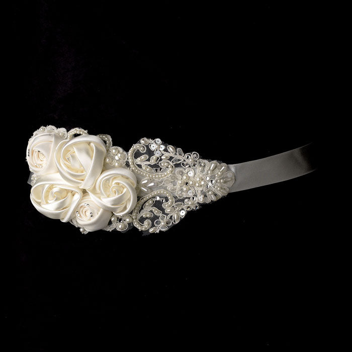 Bridal Sash Belt Intricate Rhinestone & Pearl Beaded Lace Flower