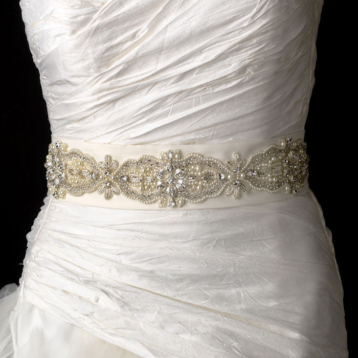 Faux Pearl Rhinestone & Bugle Beaded Bridal Sash Belt