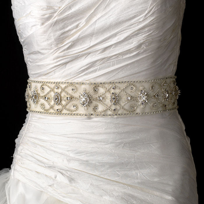 Beaded Royal Swarovski Crystal Bridal Sash Belt