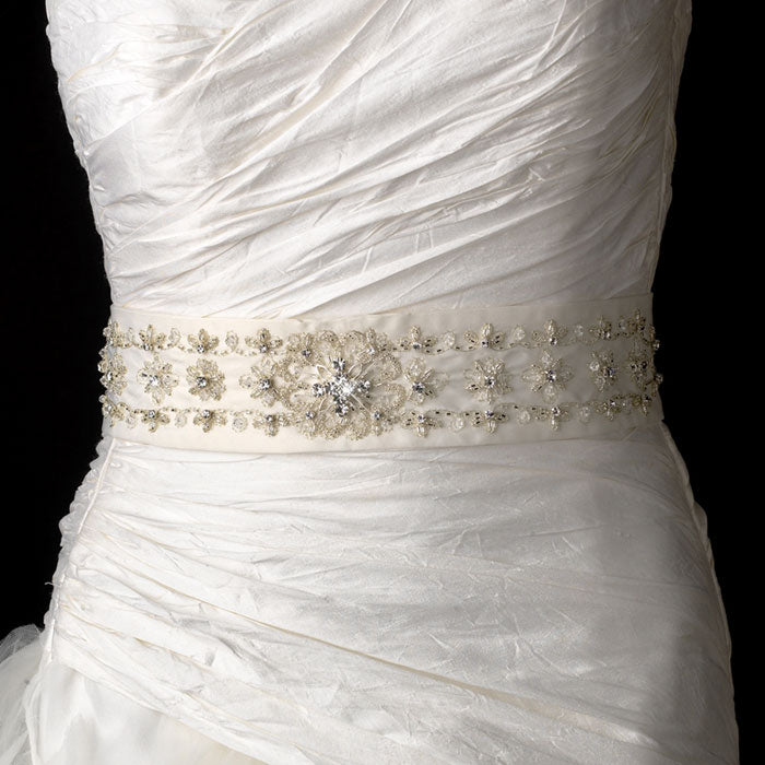 Elegant Sequence Pearls Crystals Bridal Sash Belt