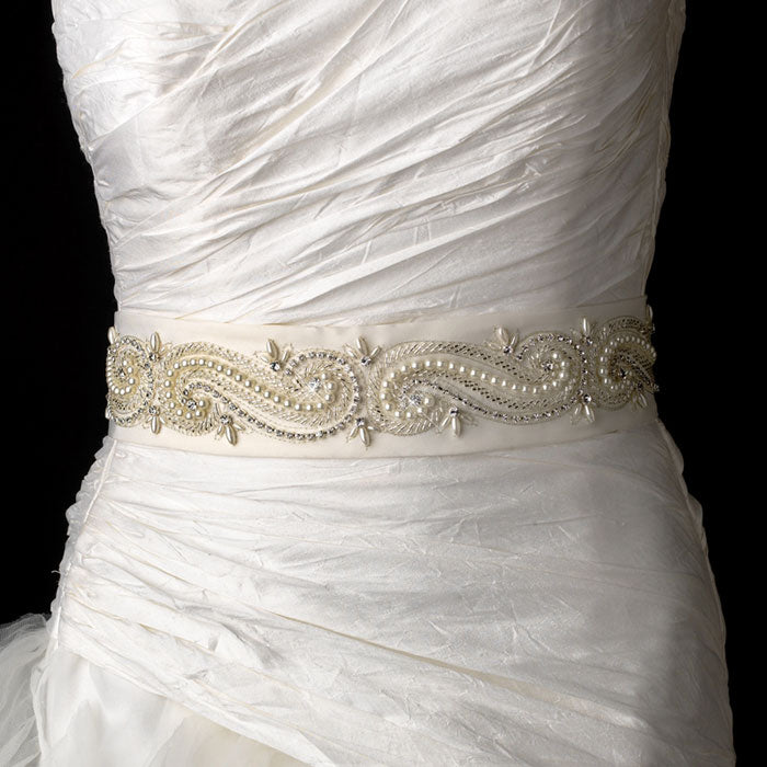 Swirl Design Bridal Sash Belt with Beads Pearls Crystals