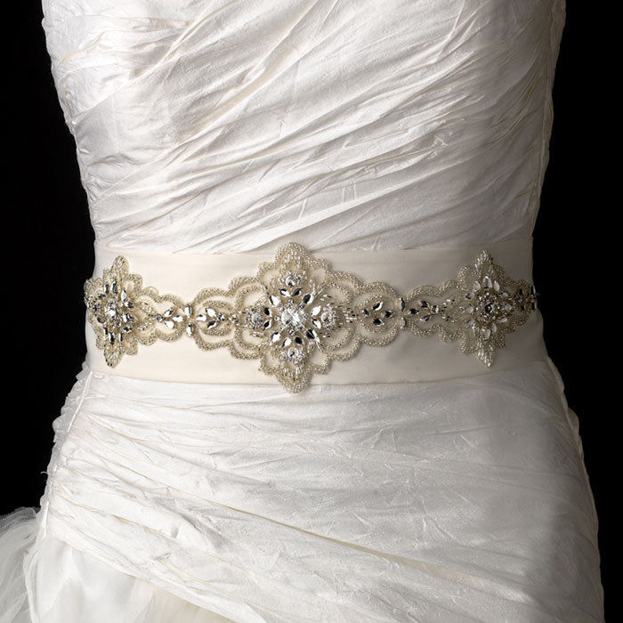 Stunning Beaded Modern Vintage Bridal Sash Belt