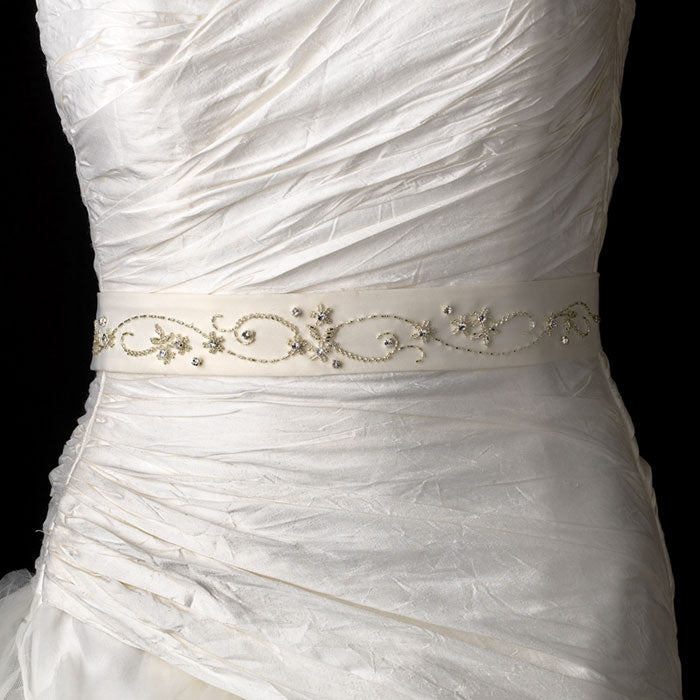 Beaded & Rhinestone Accented Bridal Sash Belt