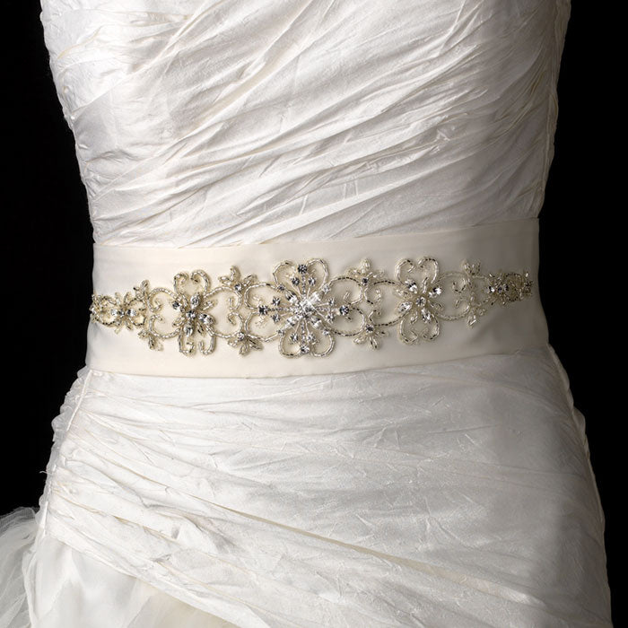 Stunning Beaded Rhinestone Bridal Sash Belt