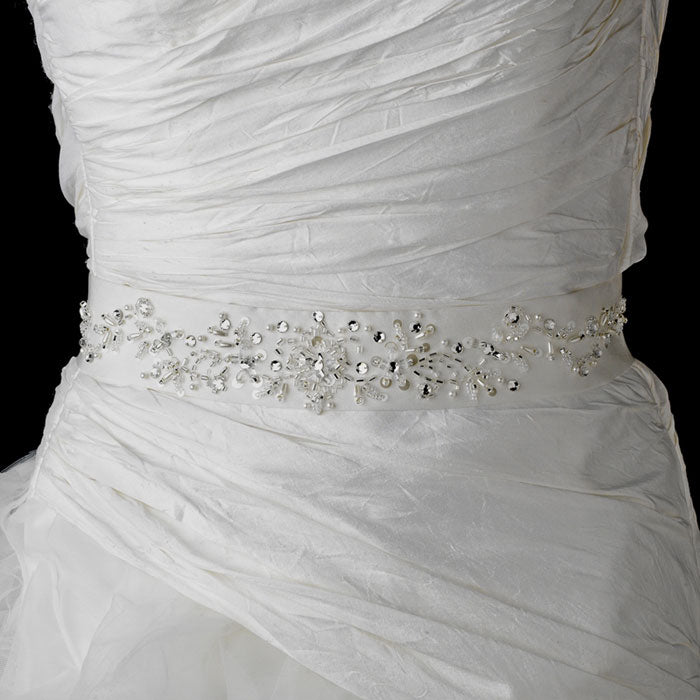Bridal Sash Belt with Sequence Pearls Crystals