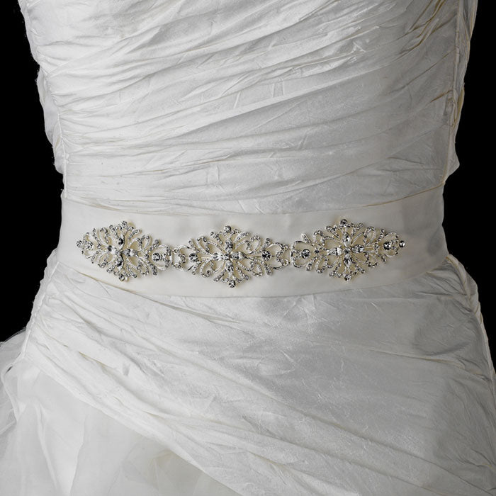 Rhinestone Vintage Bridal Sash Belt (White or Ivory)