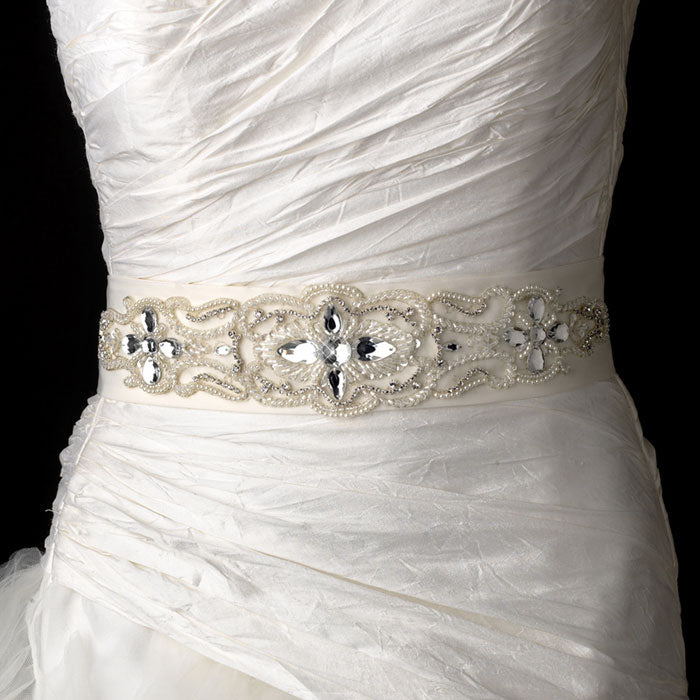 Pearls Rhinestones Beaded Bridal Sash Belt