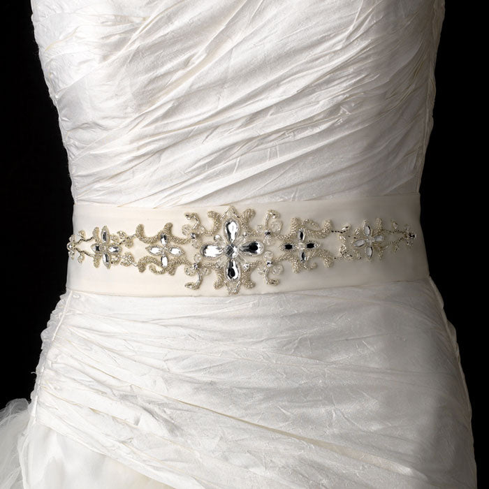Crystals Beads Rhinestone Accented Bridal Sash Belt