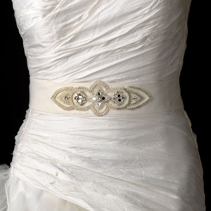 Beautiful Bridal Sash Belt with Beads Pearls Crystals