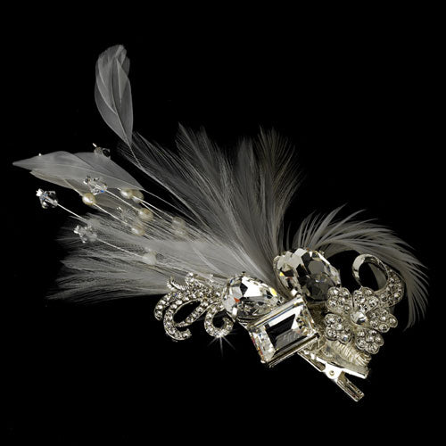 Rhinestone Floral Galore Feather Hair Clip Bridal Brooch White or Ivory