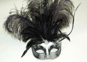 Silver Venetian Mask with Black Feather and Jewel