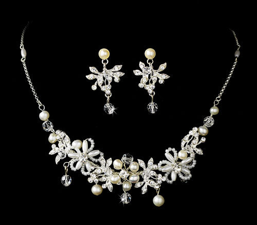Floral Design Silver Ivory Necklace Earrings Jewelry Set