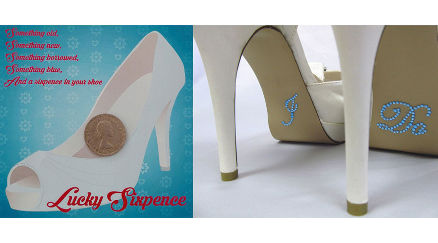 "Lucky Sixpence and ""I Do"" Rhinestone Shoe Decals Gift Set Bridal Shower Gifts"