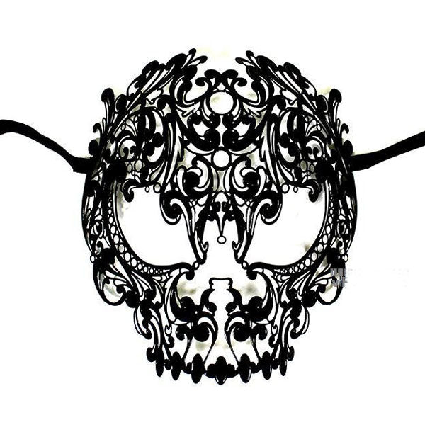 Men Devil Skull Laser Cut Metal Masquerade Mask Black Color