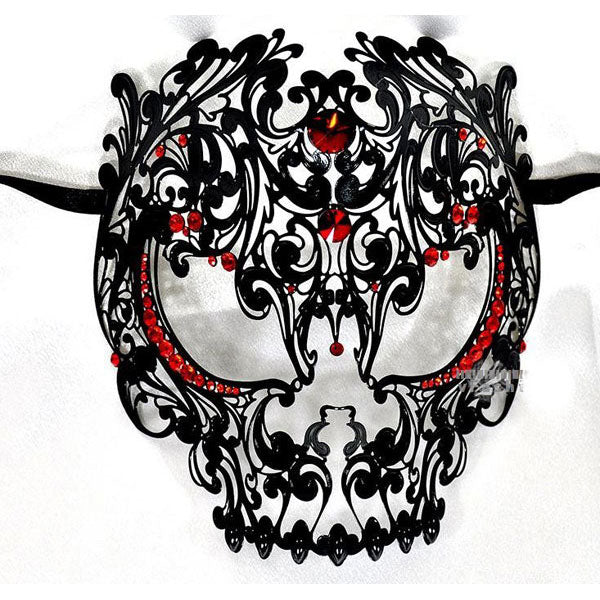Men Devil Skull Laser Cut Metal Masquerade Mask Black with Red Crystals