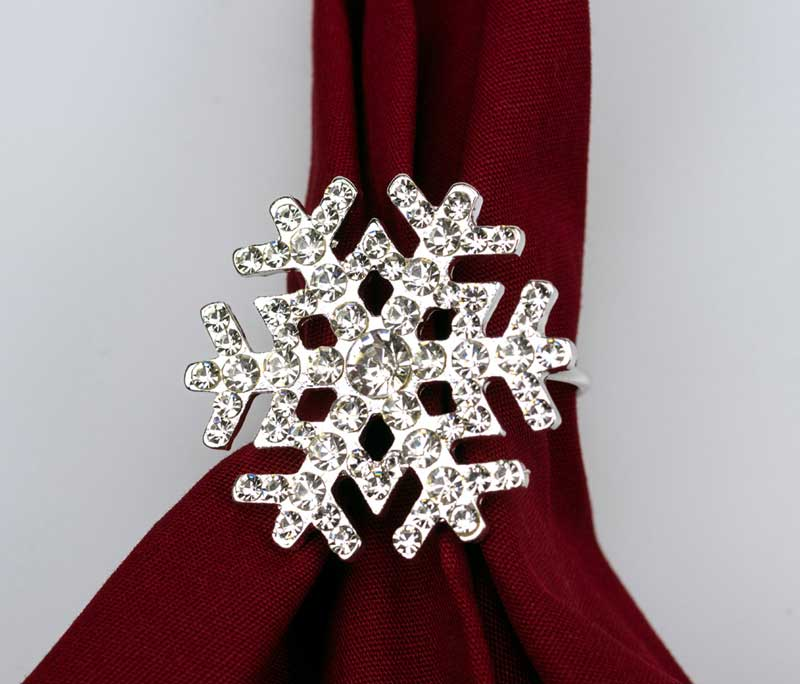Sparkling Snowflake Napkin Rings Set of 4 Napkin Holders