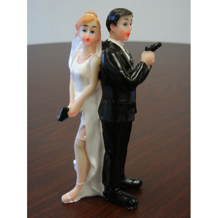 Sexy Spy Wedding Cake Topper Bride and Groom Cake Toppers