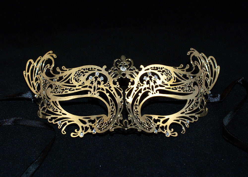 Stunning Laser Cut Masquerade Mask Gold Metal Mask with Clear Diamonds