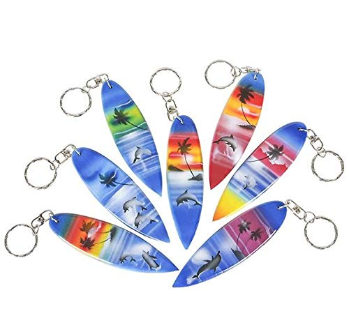 Wooden Surfboard Keychains Key Chains Surfers Party Favors Gift Pack of 12