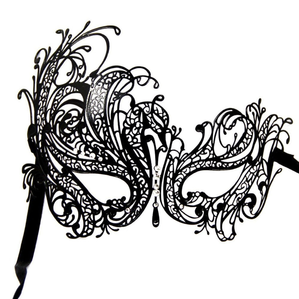 Black Swan Laser Cut Masquerade Mask with Sparkling Crystals