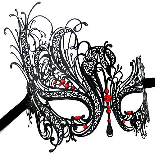 Black Swan Laser Cut Masquerade Mask with Sparkling Red Crystals