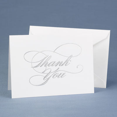 Wedding Thank You Cards Silver Foil Embossed Thank You Notes(50)