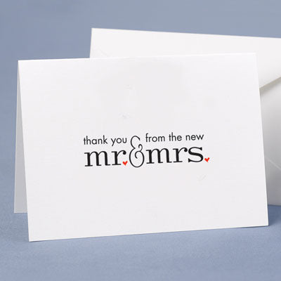 Wedding Thank You Cards Mr. and Mrs. Red Hearts (Pack of 50)