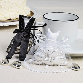 Bride and Groom Satin And Tulle Favor Bags (Pack of 24)