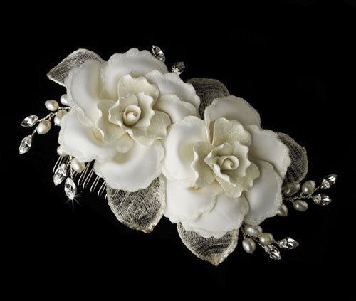 Twin Ivory Rose Bridal Hair Comb