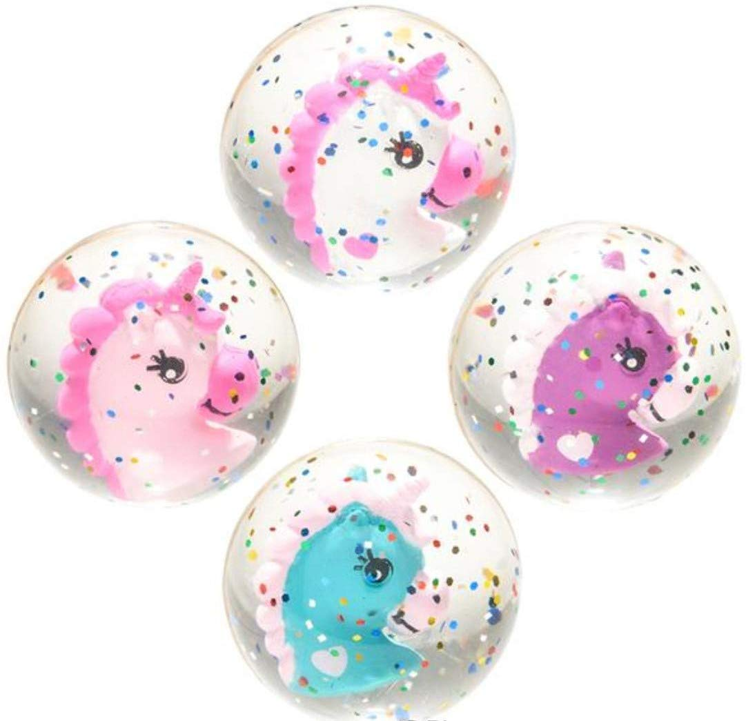 Unicorn Glitter High Bounce Balls Party Favors Pack of 12
